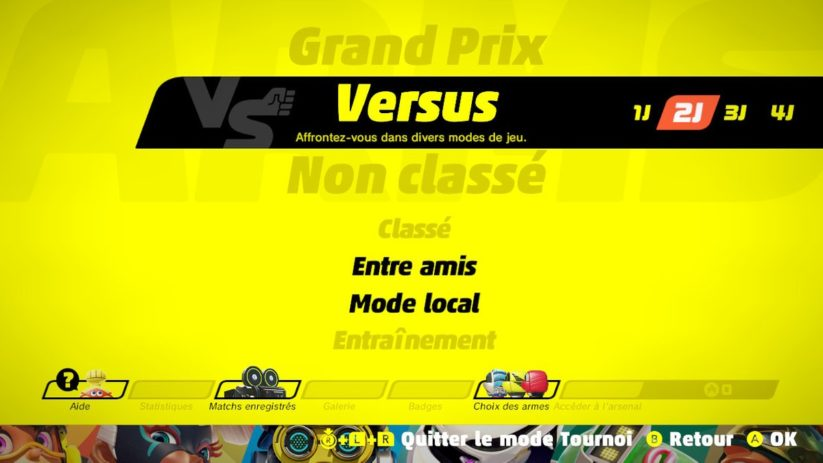 Interface Tournoi de Arms