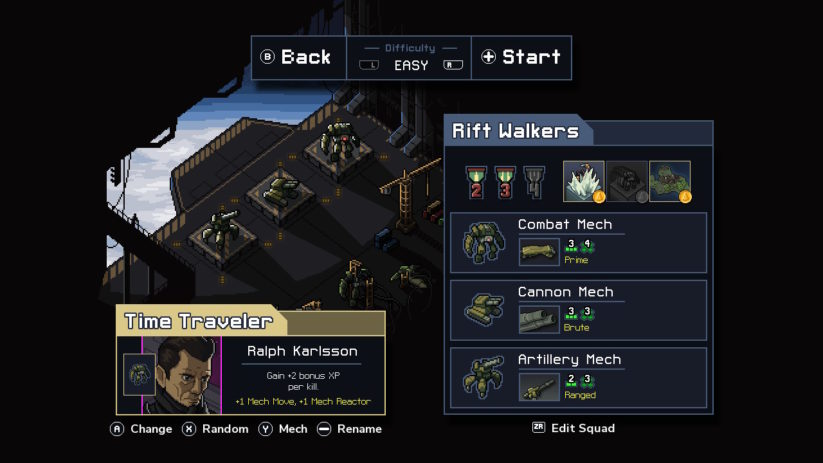 Review : Into the Breach (Switch) - présentation d'un personnage