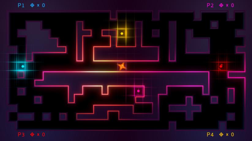 Jeu Invisiballs sur Nintendo Switch : screenshot à quatre joueurs