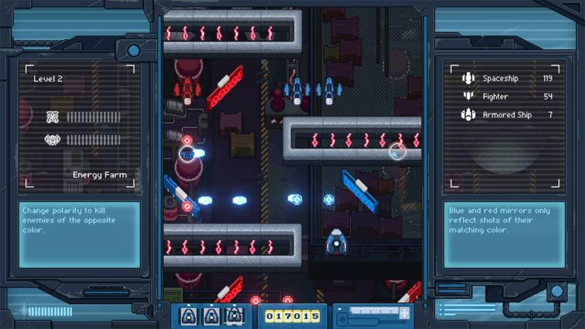 Jeu Iro Hero sur Nintendo Switch : miroirs bleu et rouge