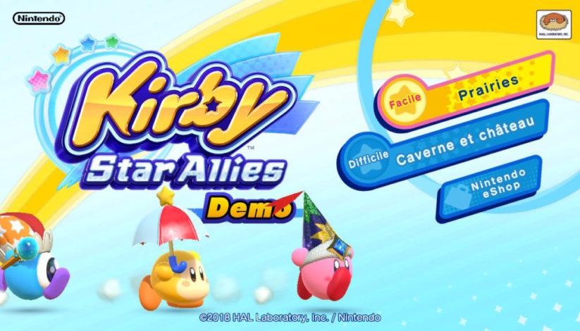 Jeu Kirby Star Allies sur Nintendo Switch : menu de la démo