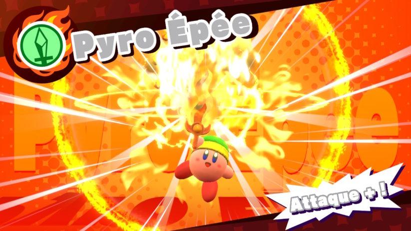 Jeu Kirby Star Allies sur Nintendo Switch : amélioration de l'épée par le feu