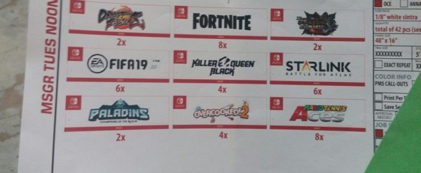 Photo d'un document officiel de l'E3 à propos de Fortnite sur Nintendo Switch