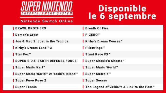 Liste des 20 jeux Super Nintendo Online