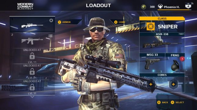Modern Combat Blackout sur Nintendo Switch : loadout
