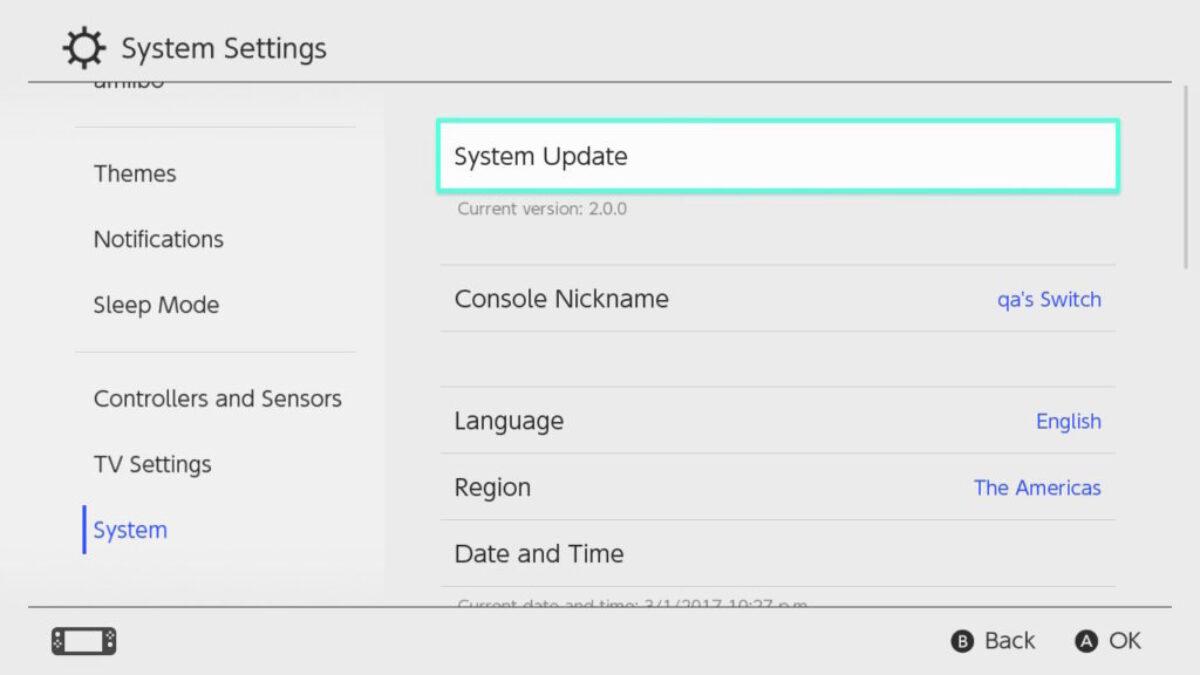 Mise à jour de la Nintendo Switch : firmware en version 5.0.0