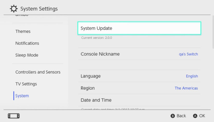 Mise à jour de la Nintendo Switch : firmware en version 5.0.0