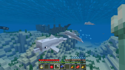 Mise à jour Bedrock (Better Together) de Minecraft sur Nintendo Switch : dauphins