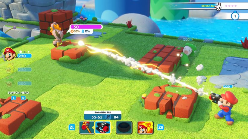 Jeu Mario + The Lapins Crétins : Kingdom Battle sur Nintendo Switch : Mario vise en plein dans le mille