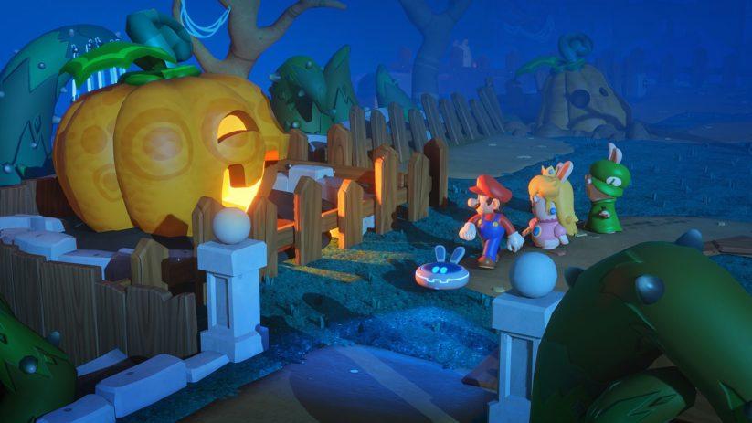Jeu Mario + The Lapins Crétins : Kingdom Battle sur Nintendo Switch : une citrouille qui fait frissonner