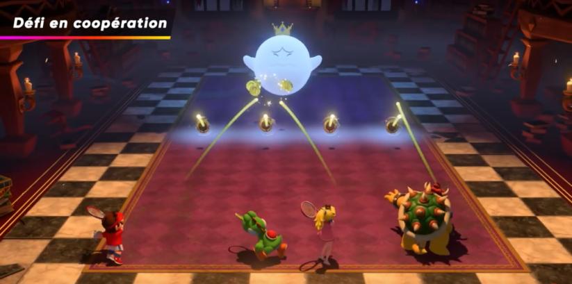 Jeu Mario Tennis Aces sur Nintendo Switch : le mode défi en coopération permettra de gagner des accessoires