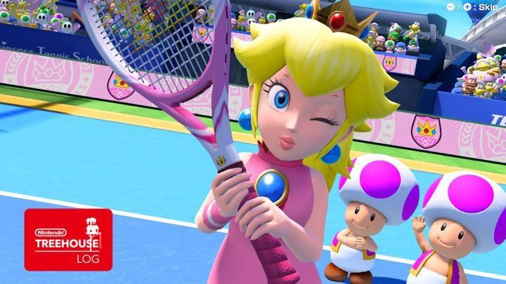 Jeu Mario Tennis Aces sur Nintendo Switch : Peach nous fait un clin d'oeil