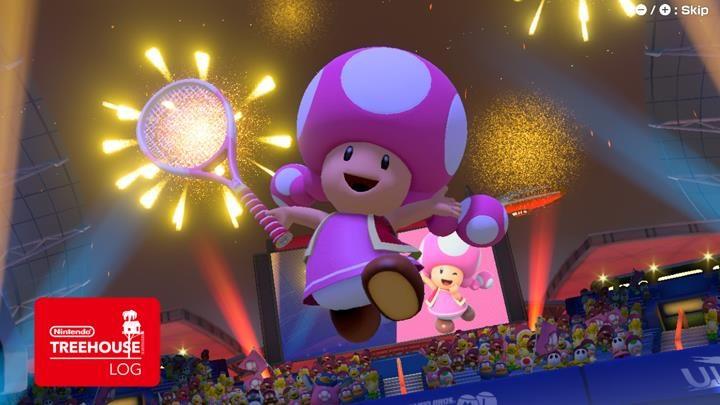 Jeu Mario Tennis Aces sur Nintendo Switch : Toadette bondit vers la victoire