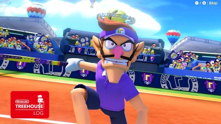 Jeu Mario Tennis Aces sur Nintendo Switch : Waluigi salue