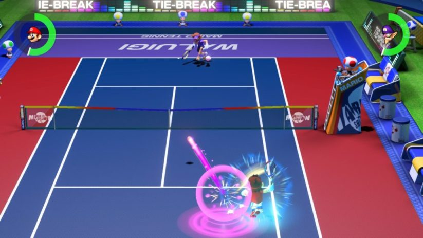 Screenshot du jeu Mario Tennis Aces sur Nintendo Switch : aperçu d'un match
