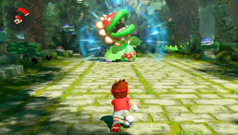 Screenshot du jeu Mario Tennis Aces sur Nintendo Switch : mode Histoire et plante piranha