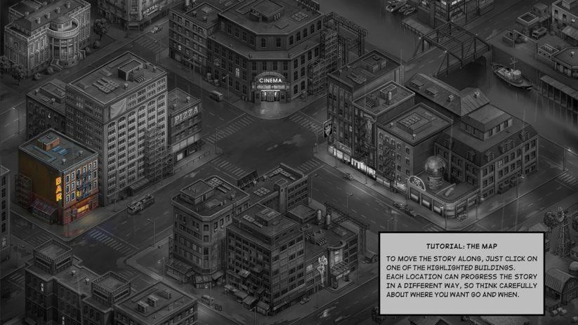 Jeu Metropolis Lux Obscura sur Nintendo Switch : carte de la ville