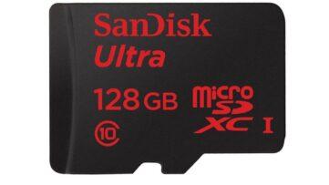 Vente flash : carte mémoire microSDHC SanDisk Ultra 128Go à 35€99 au lieu de 55€99