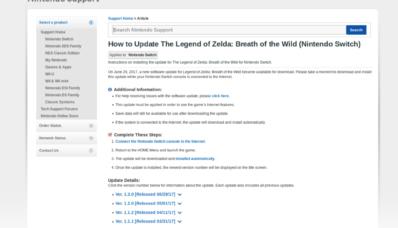 [Mise à jour 1.3.0] MAJ de Zelda Breath of the Wild : DLC 1 et résolution de bugs