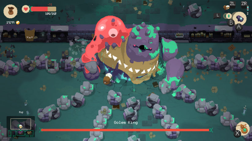 Jeu Moonlighter sur Nintendo Switch : combat contre un boss
