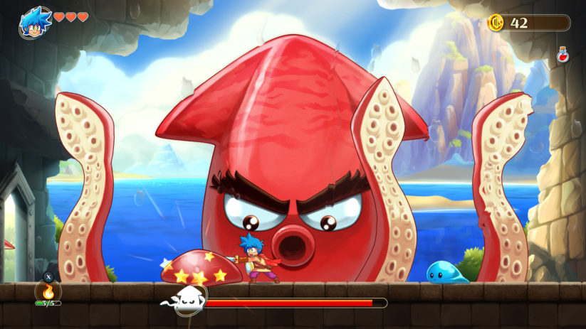 Jeu Monster Boy and the Cursed Kingdom sur Nintendo Switch : premier boss