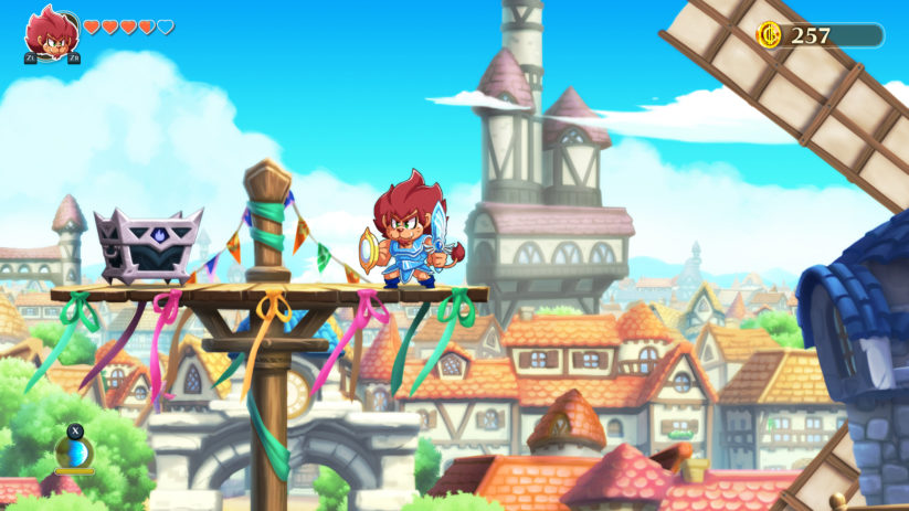 Jeu Monster Boy and the Cursed Kingdom sur Nintendo Switch : le lion rugira et foncera dans les barricades
