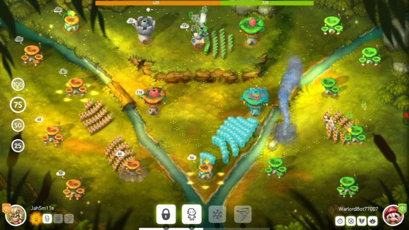 Jeu Mushroom Wars 2 sur Nintendo Switch : affrontement à trois