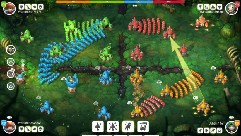 Jeu Mushroom Wars 2 sur Nintendo Switch : affrontement à quatre