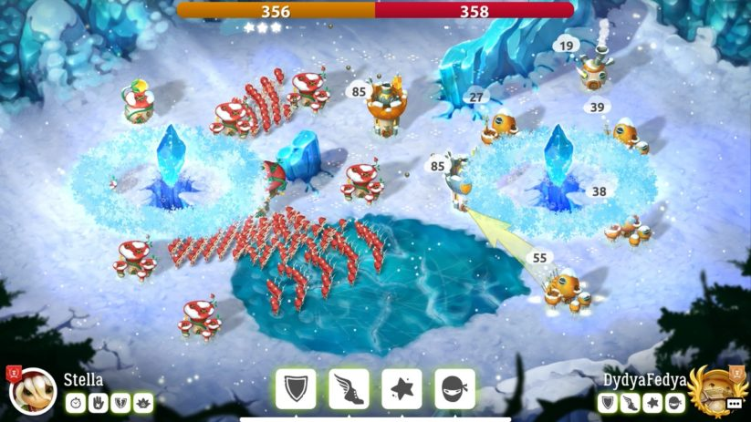 Jeu Mushroom Wars 2 sur Nintendo Switch : affrontement glacial