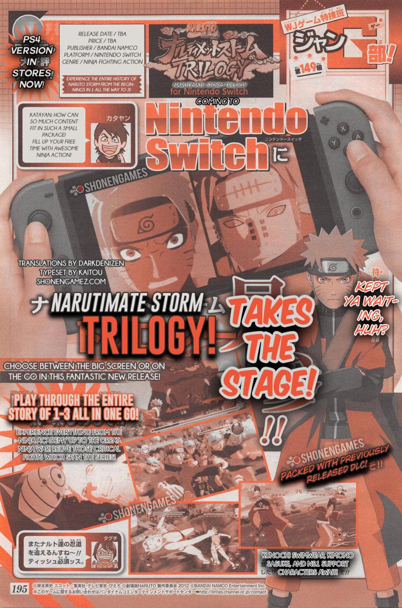 Jeu Naruto : Ultimate Storm Trilogy sur Nintendo Switch : scan de l'annonce dans le Weekly Shonnen Jump