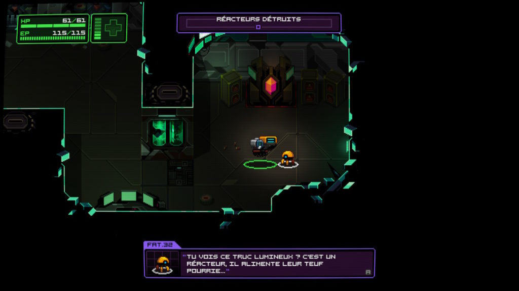 Capture d'écran du jeu Neurovoider sur Nintendo Switch