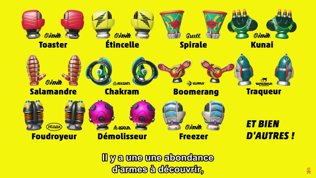 Arms : liste des armes disponibles