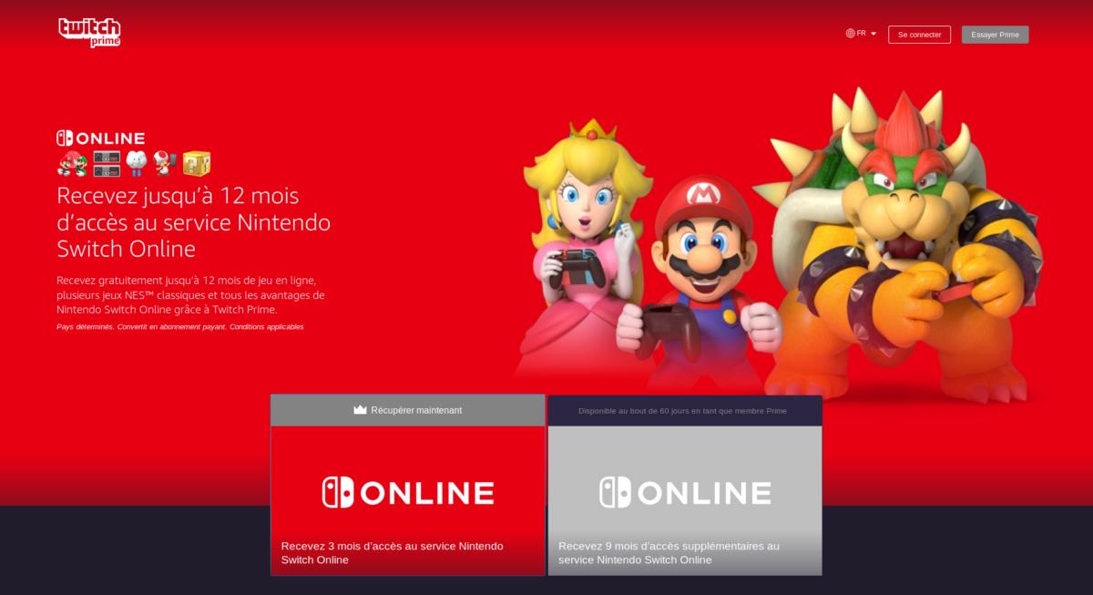 [Bon plan] 12 mois Nintendo Switch Online offerts pour les abonnés Twitch Prime ou Amazon Prime
