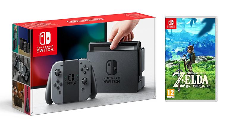 Précommander le Pack Nintendo Switch avec paire de Joy-Con grise et jeu The Legend of Zelda : Breath of the Wild