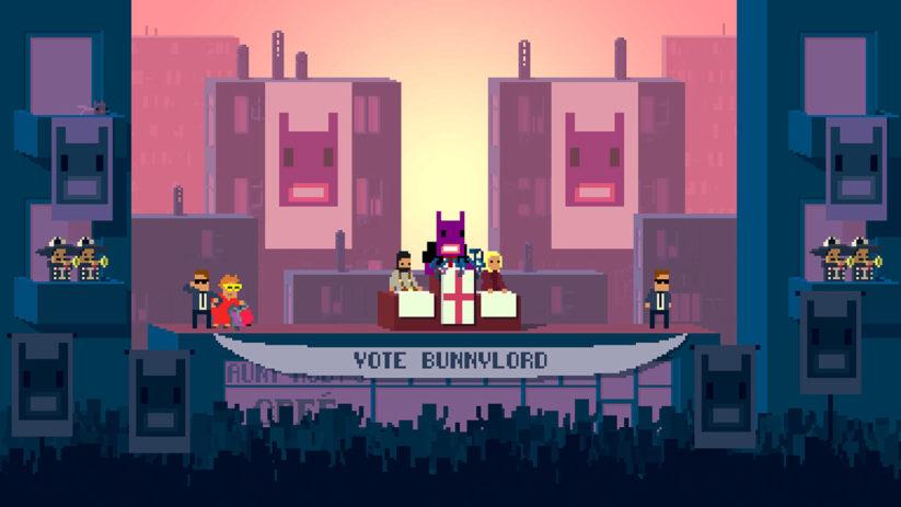 Jeu Not A Hero : Super Snazzy Edition sur Nintendo Switch : BunnyLord souhaite être élu maire et vous allez l'y aider
