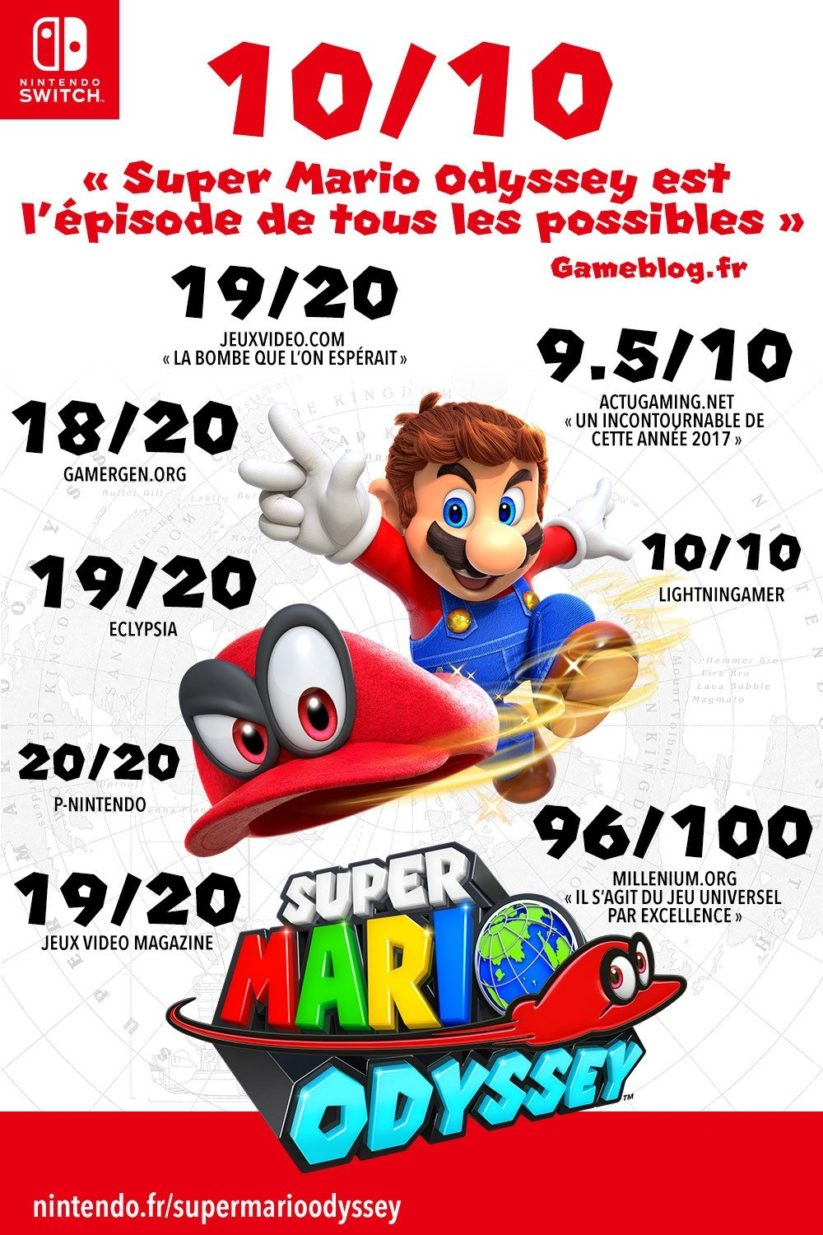 Super Mario Odyssey sur Nintendo Switch : 10/10 en France