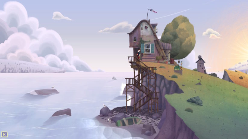 Jeu Old Man's Journey sur Nintendo Switch : maison sur la falaise