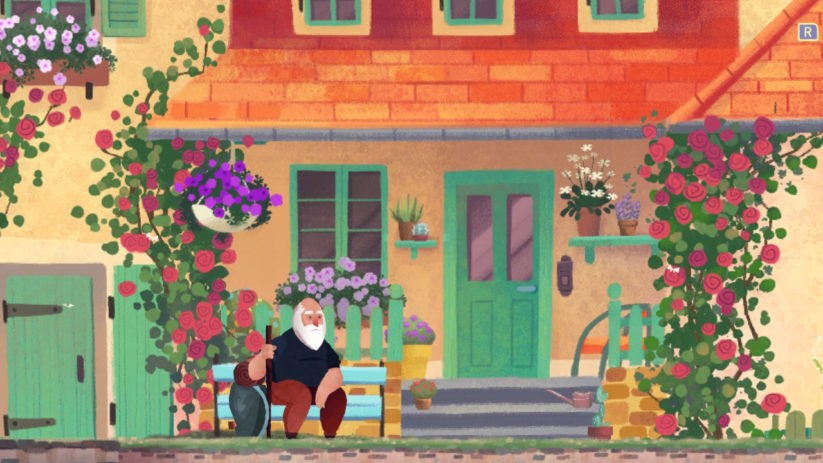 Jeu Old Man's Journey sur Nintendo Switch : attente sur le porche
