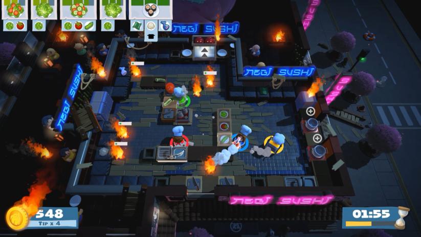 Jeu Overcooked! 2 sur Nintendo Switch : faire des sushis après un crash de montgolfière ? Evidemment
