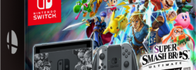 Bundle Super Smash Bros Ultimate avec console, manettes et jeu : packaging