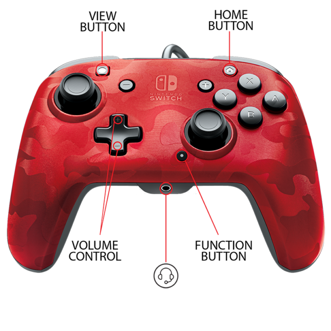 Manette Faceoff Deluxe+ Audio Wired Controller : version rouge 5