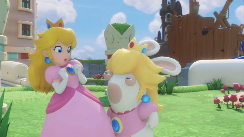 Peach et Lapin Peach se rencontrent dans Mario + The Lapins Crétins : Kingdom Battle sur Nintendo Switch