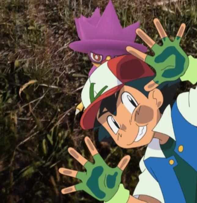 Poisson d'avril 2019 : Photobombing dans Pokemon Go de Sacha et Pikachu