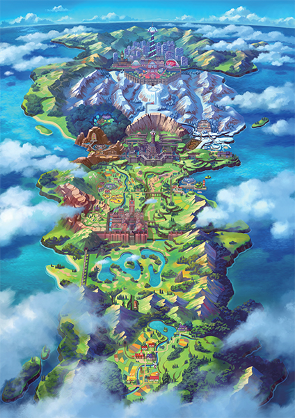 Jeu Pokémon Épée et Pokémon Bouclier sur Nintendo Switch : la carte de la région de Galar