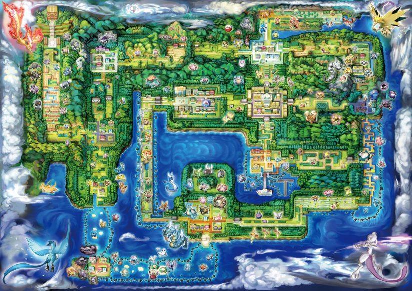 Jeu Pokemon Let's Go sur Nintendo Switch : la carte de la région de Kanto se dévoile