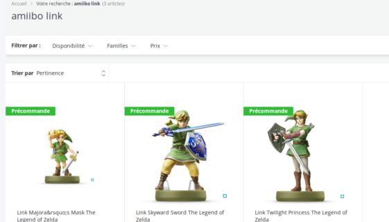 Amiibos Link Majora's Mask, Link Skyward Sword et Link Twilight Princess de retour en précommande