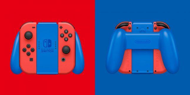 Console Nintendo Switch Super Mario Edition Limitée : gros plan sur le grip et ses Joy-Cons