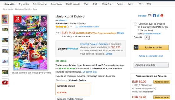 Promotion : Mario Kart 8 Deluxe à 42€99 (Premium) et 44€99 avec livraison gratuite