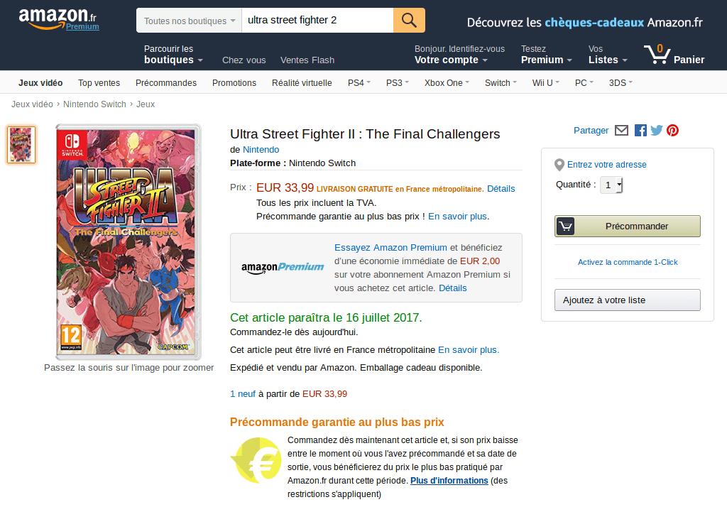Promotion : Ultra Street Fighter II : The Final Challengers à 31€99 (Premium) et 33€99 avec livraison gratuite