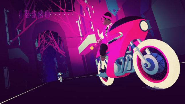 Jeu Sayonara Wild Hearts sur Nintendo Switch : poursuite à moto